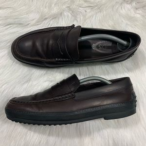Tods Slip On Loafer Dark Brown Leather NICE